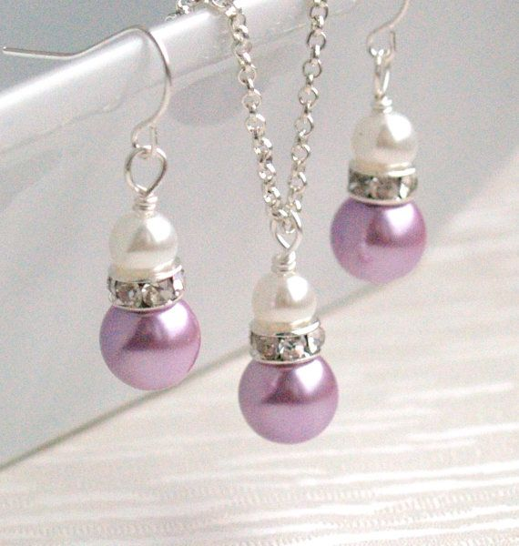 Lavender Pearl Necklace Purple Set of Necklace and Earrings Flower