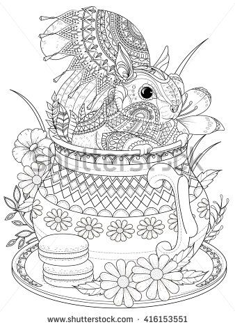 Adult coloring page adorable squirrel in a teapot