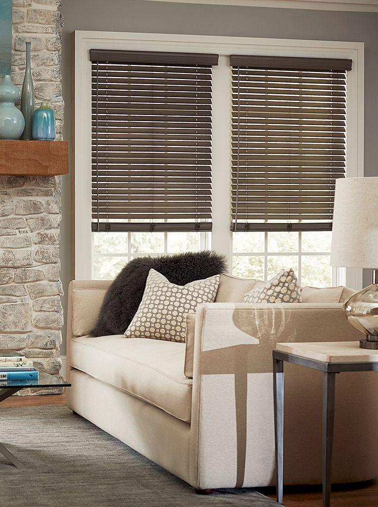 Blinds Com 2 Inch Faux Wood Blind Blinds Com Living Room Blinds Window Treatments Living Room Living Room Windows