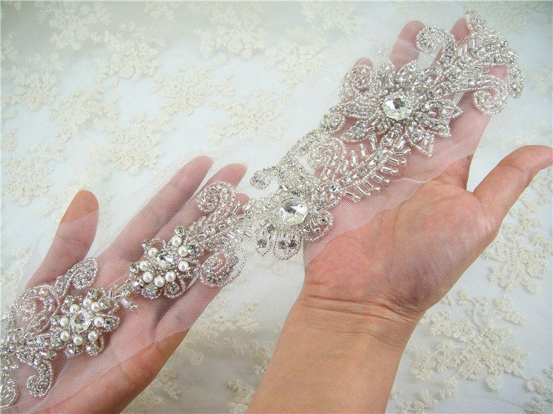 *SALE* Gold Pearl Crystal Applique Jewel Diamante Rhinestone Wedding Cake Sash