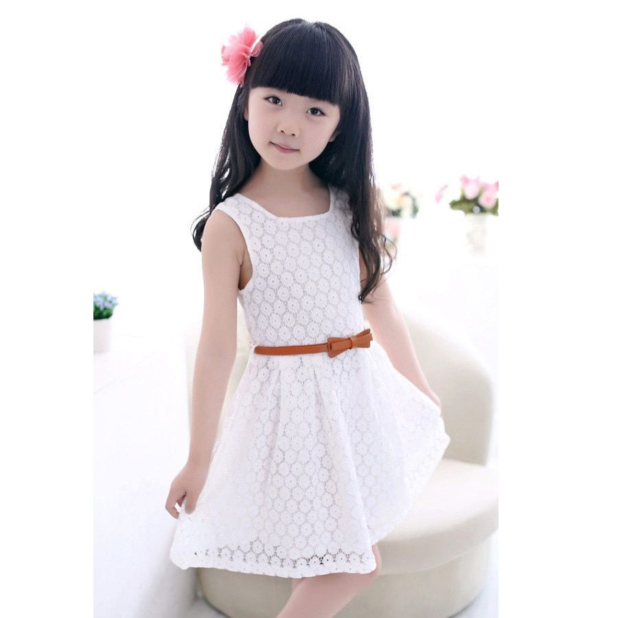 Clode for 2-7 Years Old Girls Fahion Kids Girls Dot Lace Party Birthday Belt Kids Clothing Princess Dresses