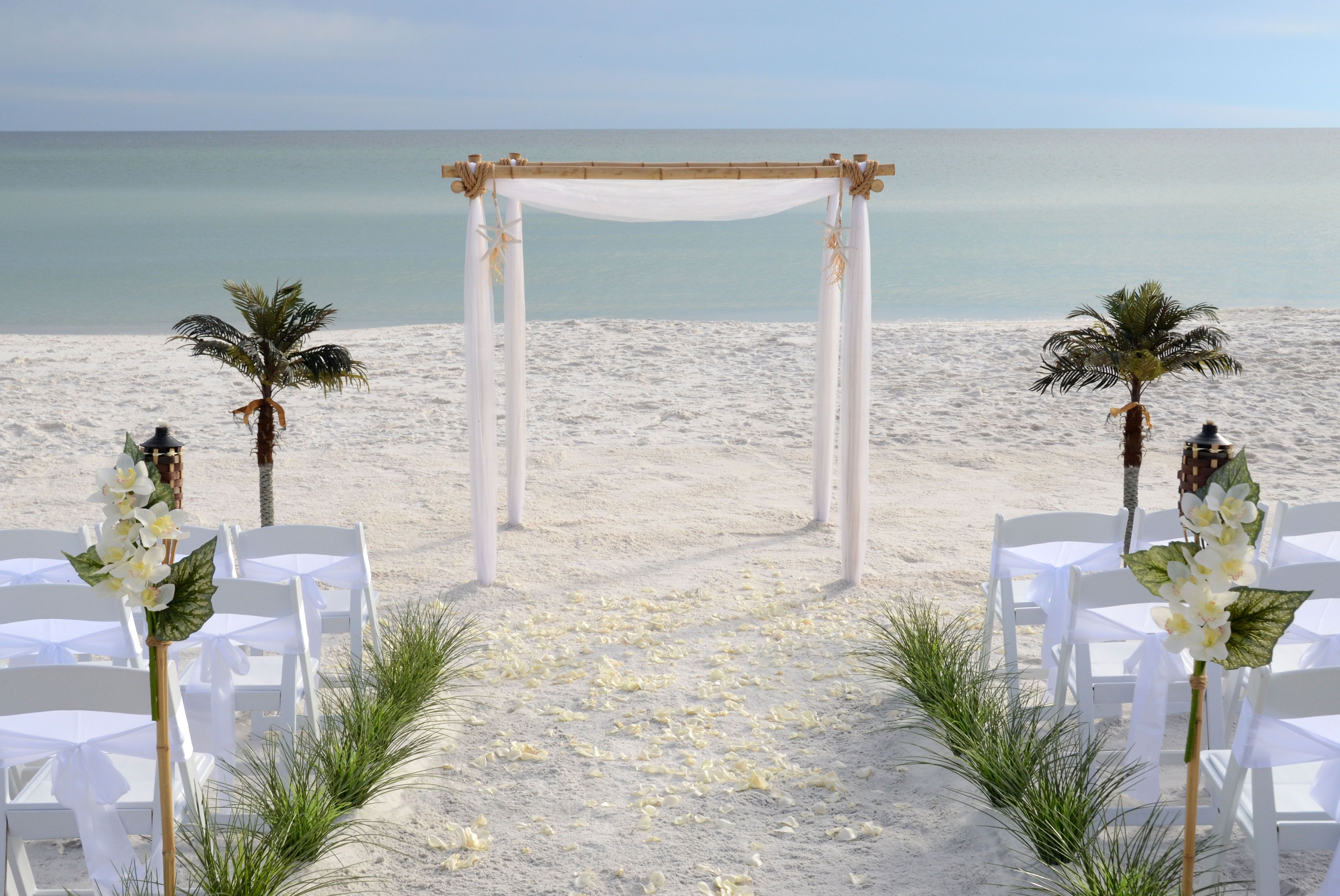 Plain white wedding arbor. Seagrove Beach, Florida