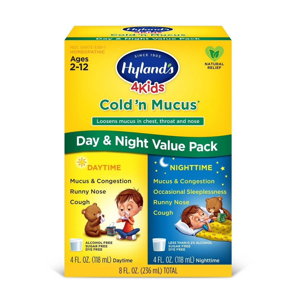 Hyland S 4 Kids Day Night Cold N Mucus Relief Liquid 8 Fl Oz Mucus Relief Cough And Cold Medicine Kids Cold Medicine