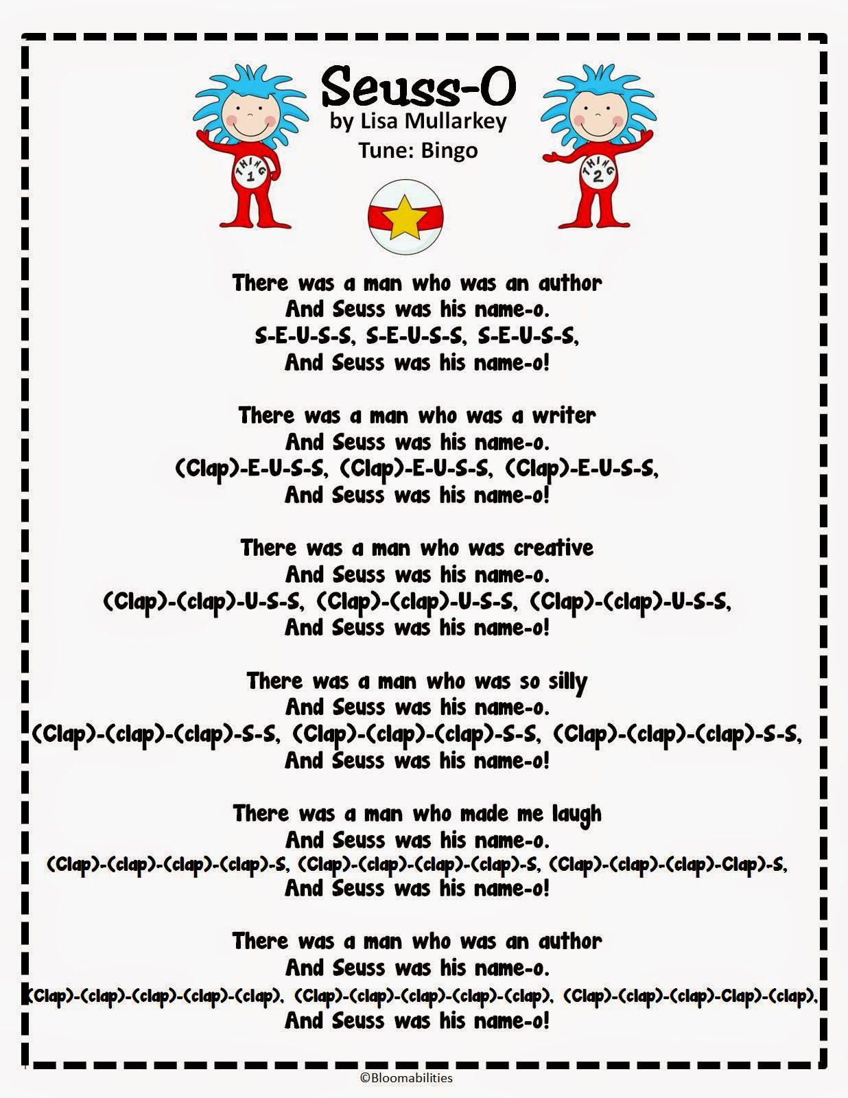 dr seuss song to the tune of bingo perfect for the month of