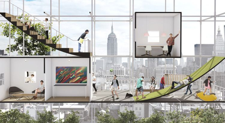 Speculative Project Seeks To Take Advantage Of Nyc Air Rights For Affordable Housing Affordable Housing Speculative Design Architecture Presentation