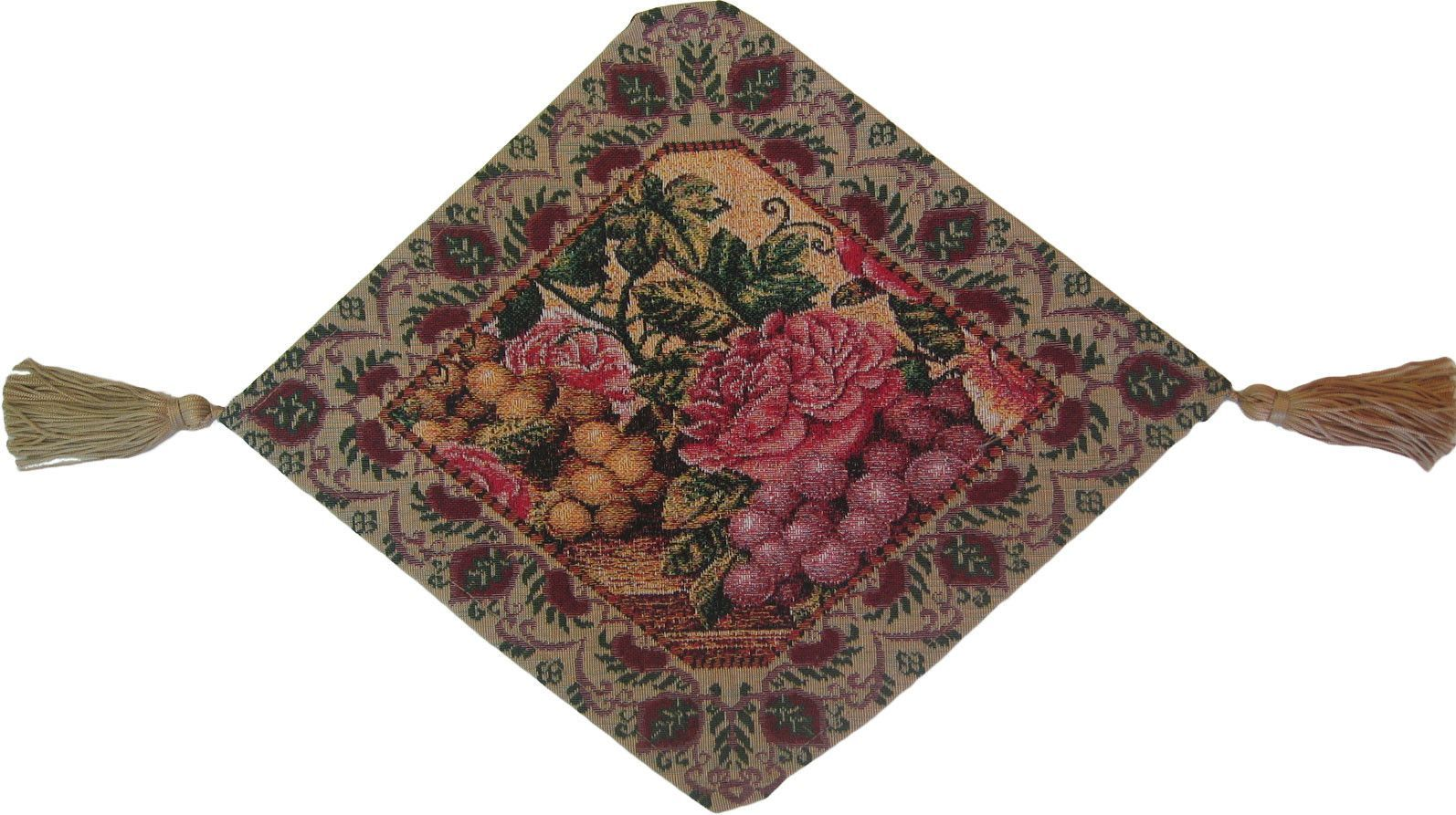 Parade of Fruit and Rose Woven Table Runner