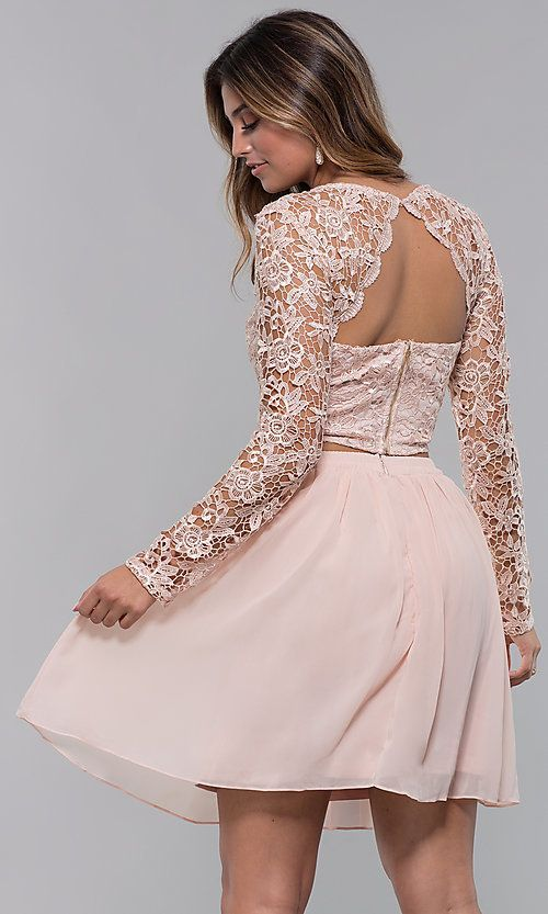 Two-Piece Short Hoco Dress in Blush by PromGirl in 2020 ...