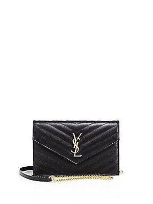 SAINT LAURENT Small Monogram Mattelasse Leather Chain Wallet ... 7f30788e7d1f7