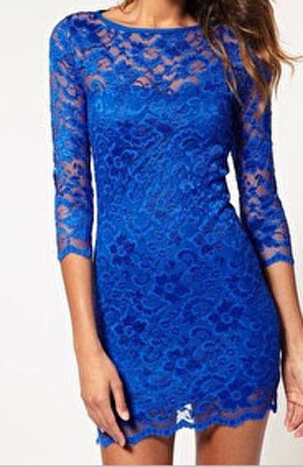 Bridesmaids | ASOS Cobalt Blue Slash Neck Lace Bodycon Mini Dress Sizes US 2 12 Parties Proms | eBay