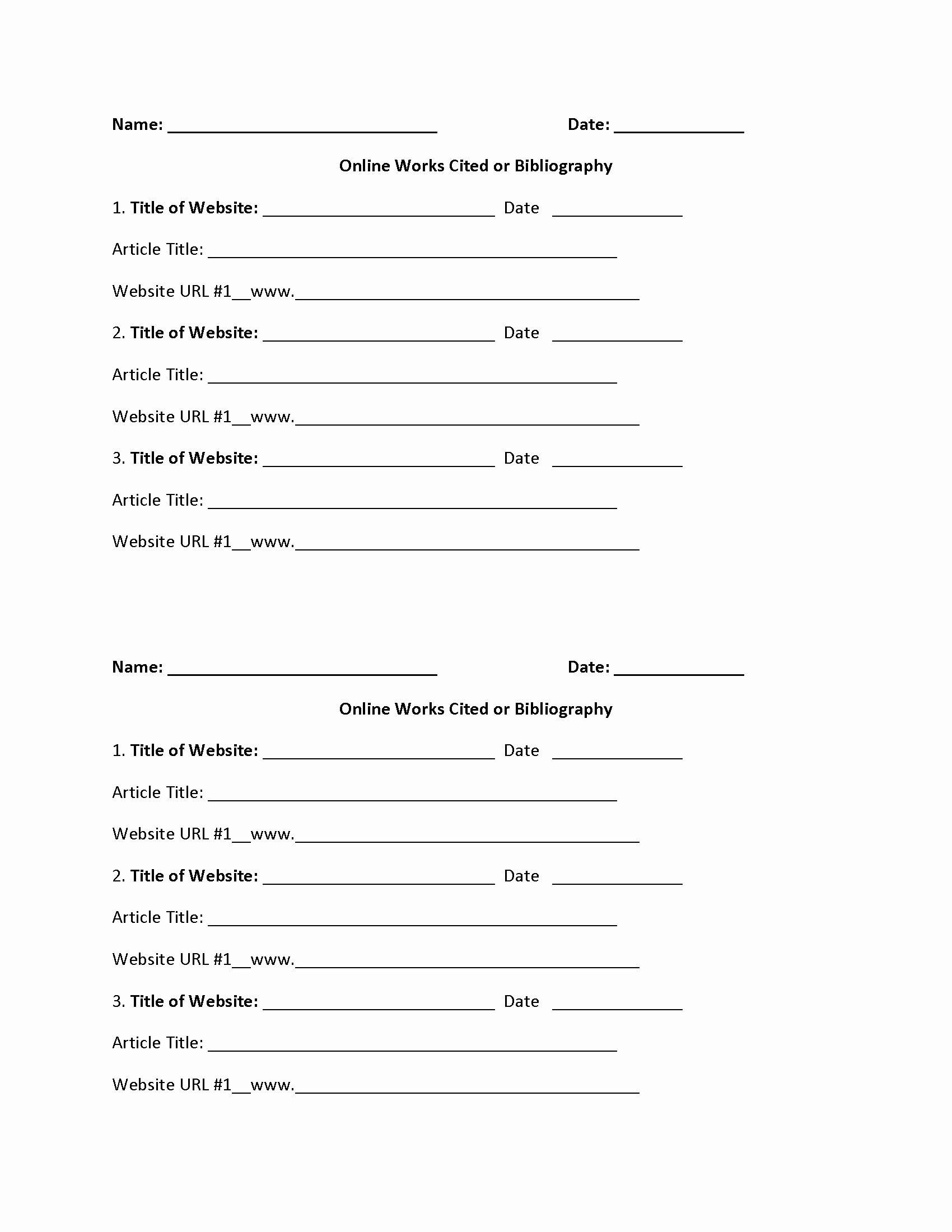 Mla Citation Practice Worksheet Inspirational Works Cited