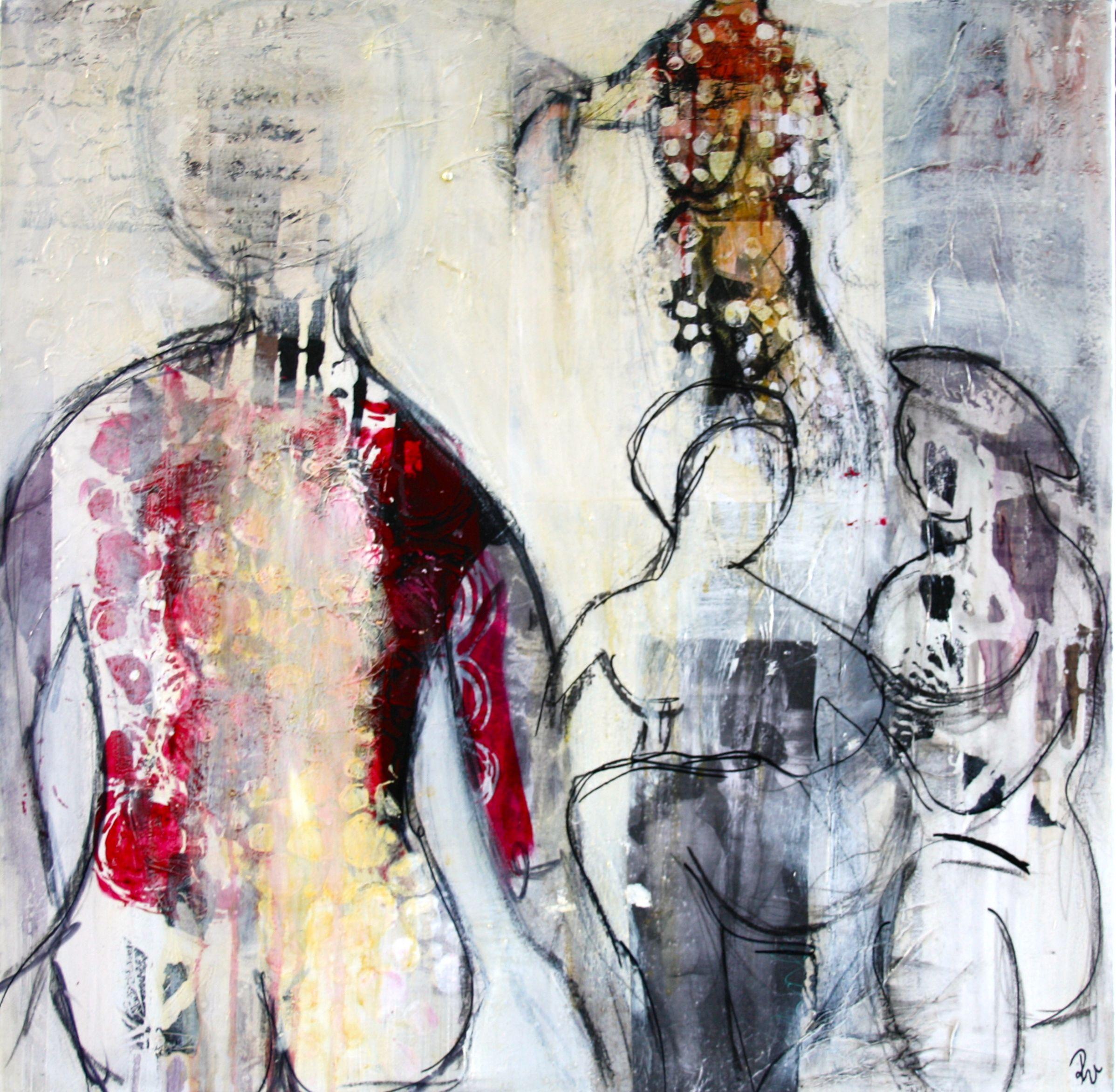 Mennesker Akryl Oilpastel Collage Papir Serigrafitryk Kul Blyant Tegning Maleri Galleri Www Rieskunstgalleri Dk Portraet Tegning Malerier Tegning