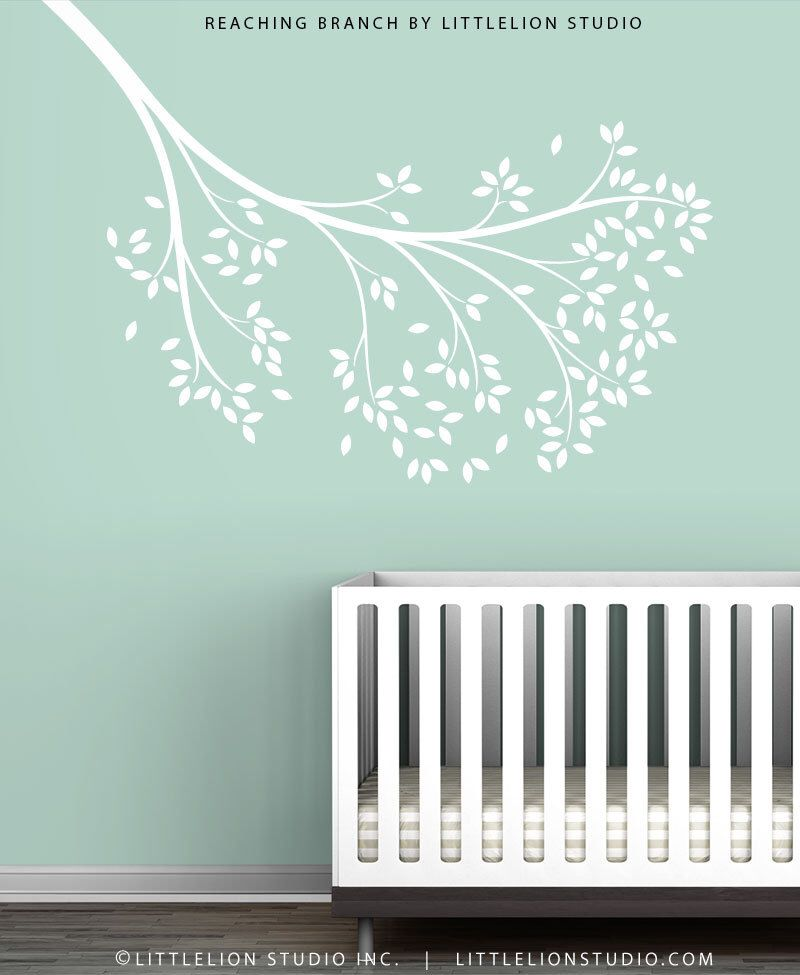 White Reaching Branch Wall Decal by LittleLion Studio by TheWhiteTreeStore on Etsy https://www.etsy.com/listing/128266153/white-reaching-branch-wall-decal-by
