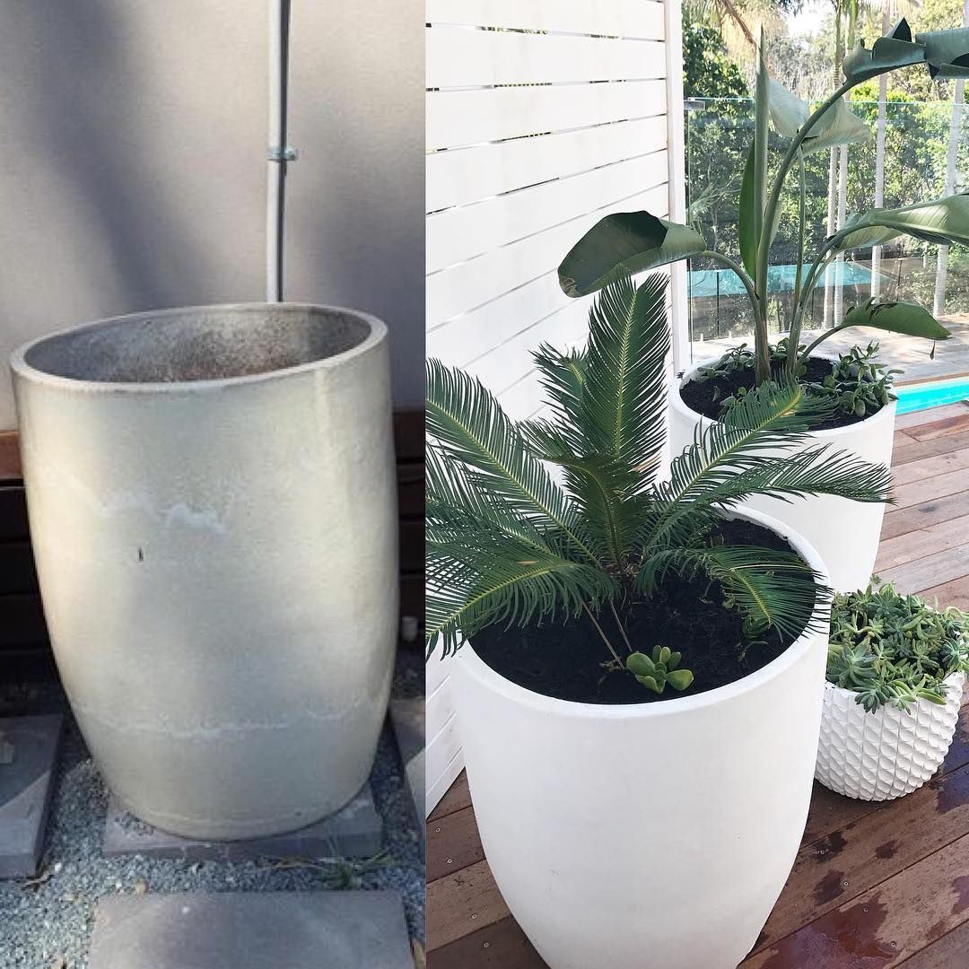 Love What A Little Bit Of Paint Can Do You Can Achieve The Look For Less Than Qtr Of The Price By Picking Up S White Planters Tropical Garden Garden