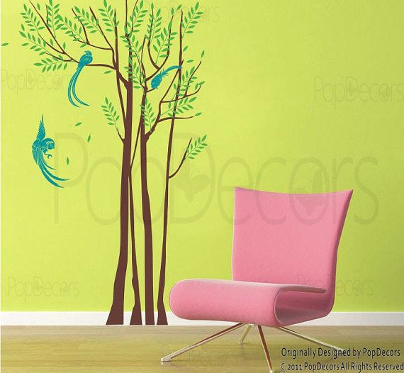 Phoenix and Forest 102 H Modern Wall Decals Art by PopDecors, $62.00 ...