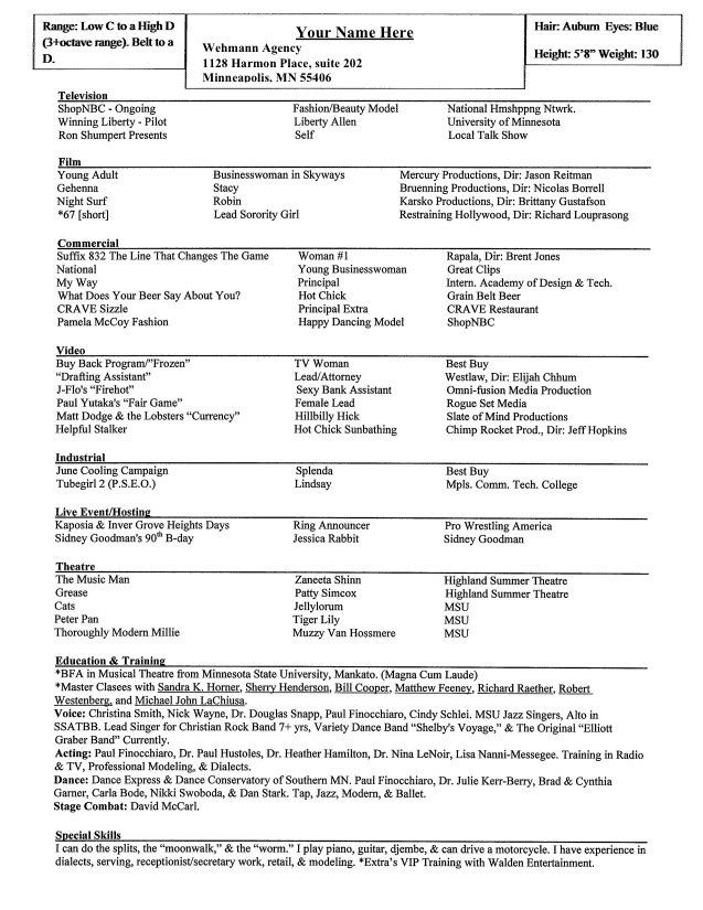 Actor Resume Special Skills Free Resume Templates