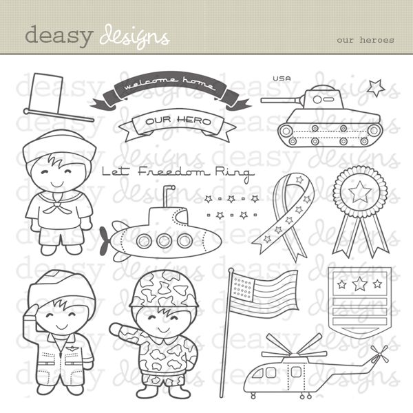 Our Heroes is perfect for military and heroes themes.  This set is perfect for creating greeting cards, invitations, scrapbooks   and  anything else you can imagine. Color them and you will have fun