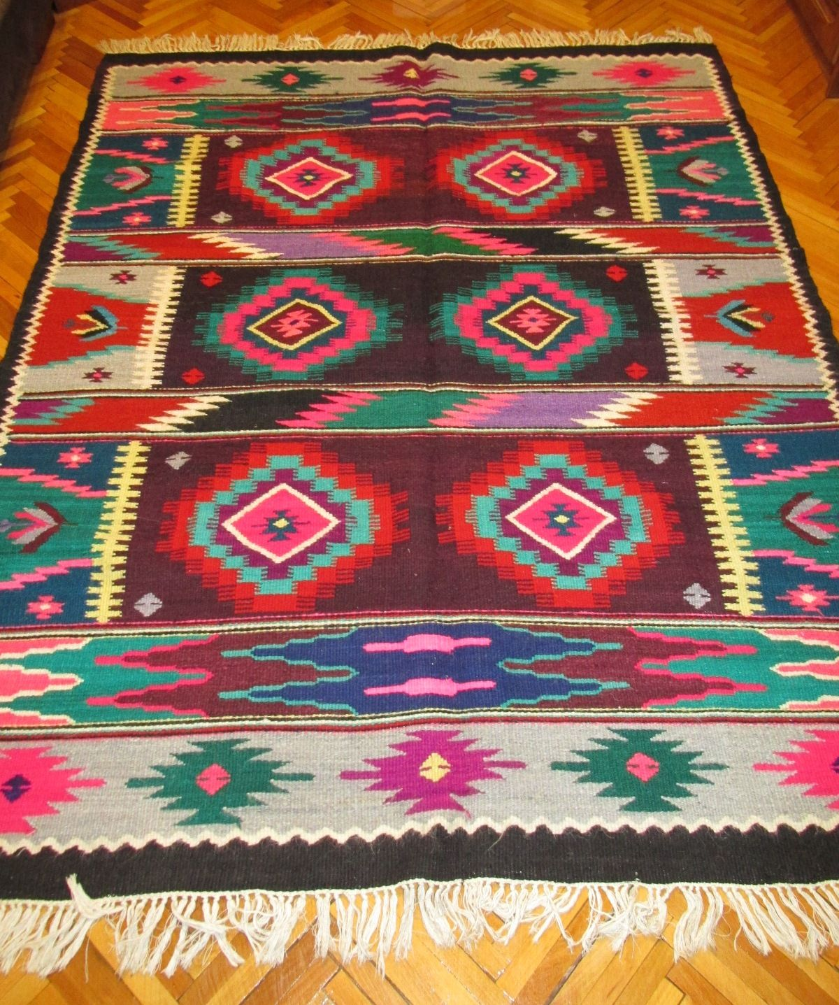 Beautiful Antique Traditional Romanian Hand Woven Wool