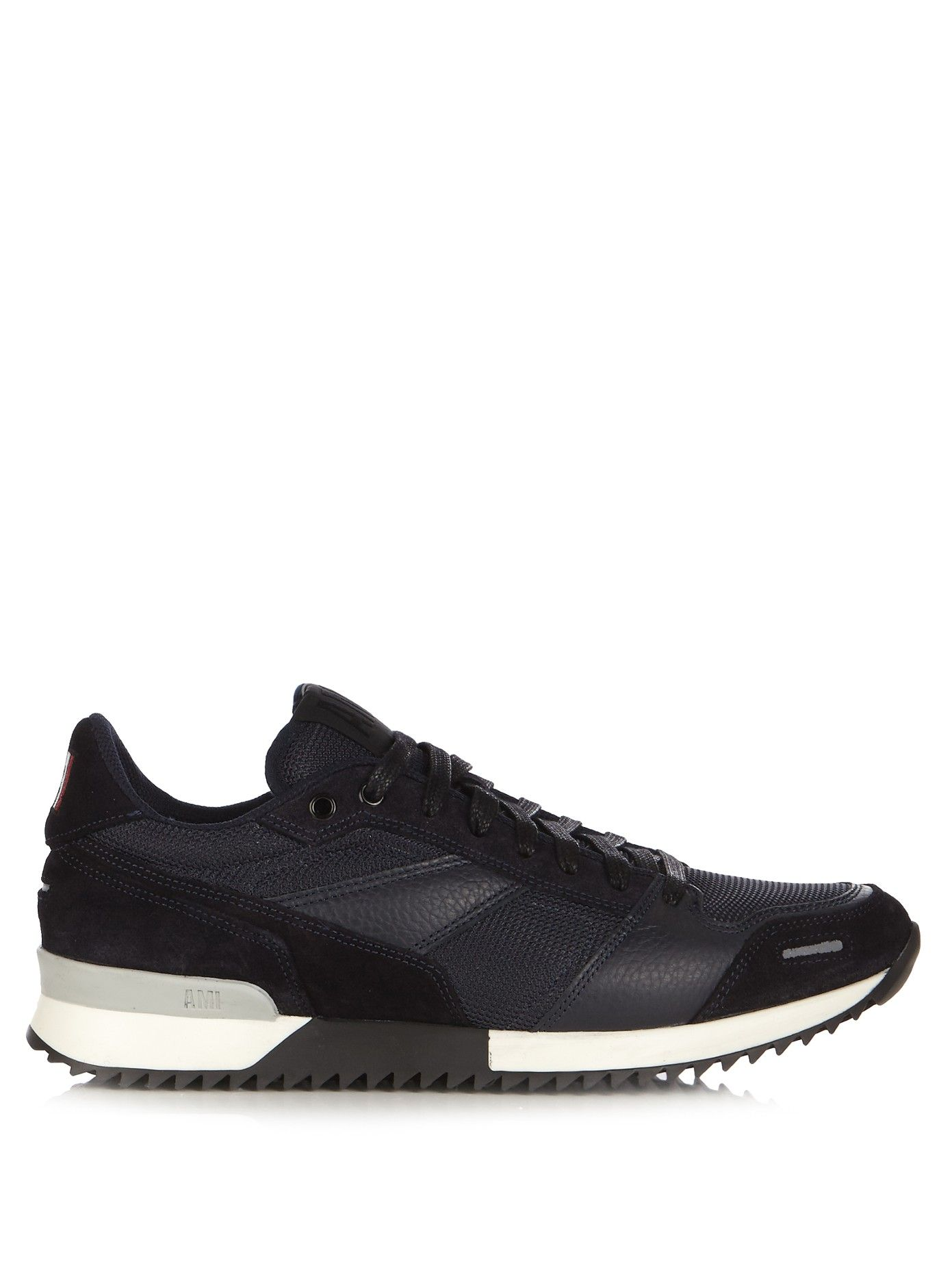 AMI. Leather and suede panelled trainers