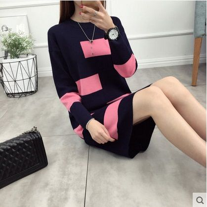 2017 Women Plus-size Sweater fashion sweaters and pullovers Winter Knitted Warm O-neck long Knitwear female pull femme coat