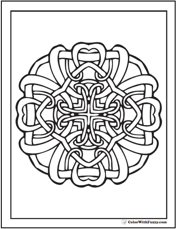 ColorWithFuzzy Celtic Knot Designs Knots Coloring Sheet