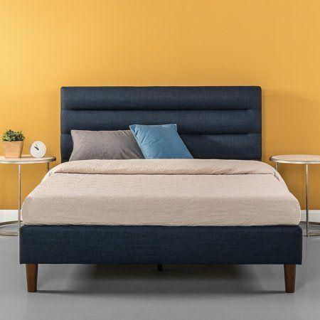 Zinus Upholstered Horizontally Cushioned Platform Bed Multiple