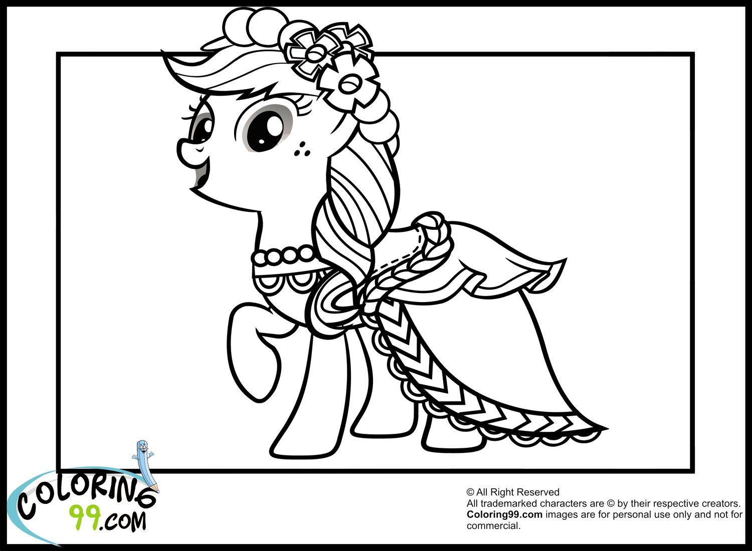 apple jack with her gala dress colouring for the girls