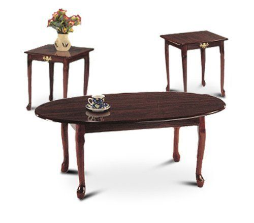 Best 3 Piece Cherry Finish Coffee Table Set With Two End Tables 400 x 300