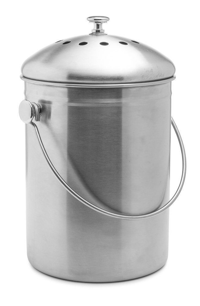 1 Gallon Compost Bin Stainless Steel Container Kitchen Counter Scrap Garden  Food #Epica