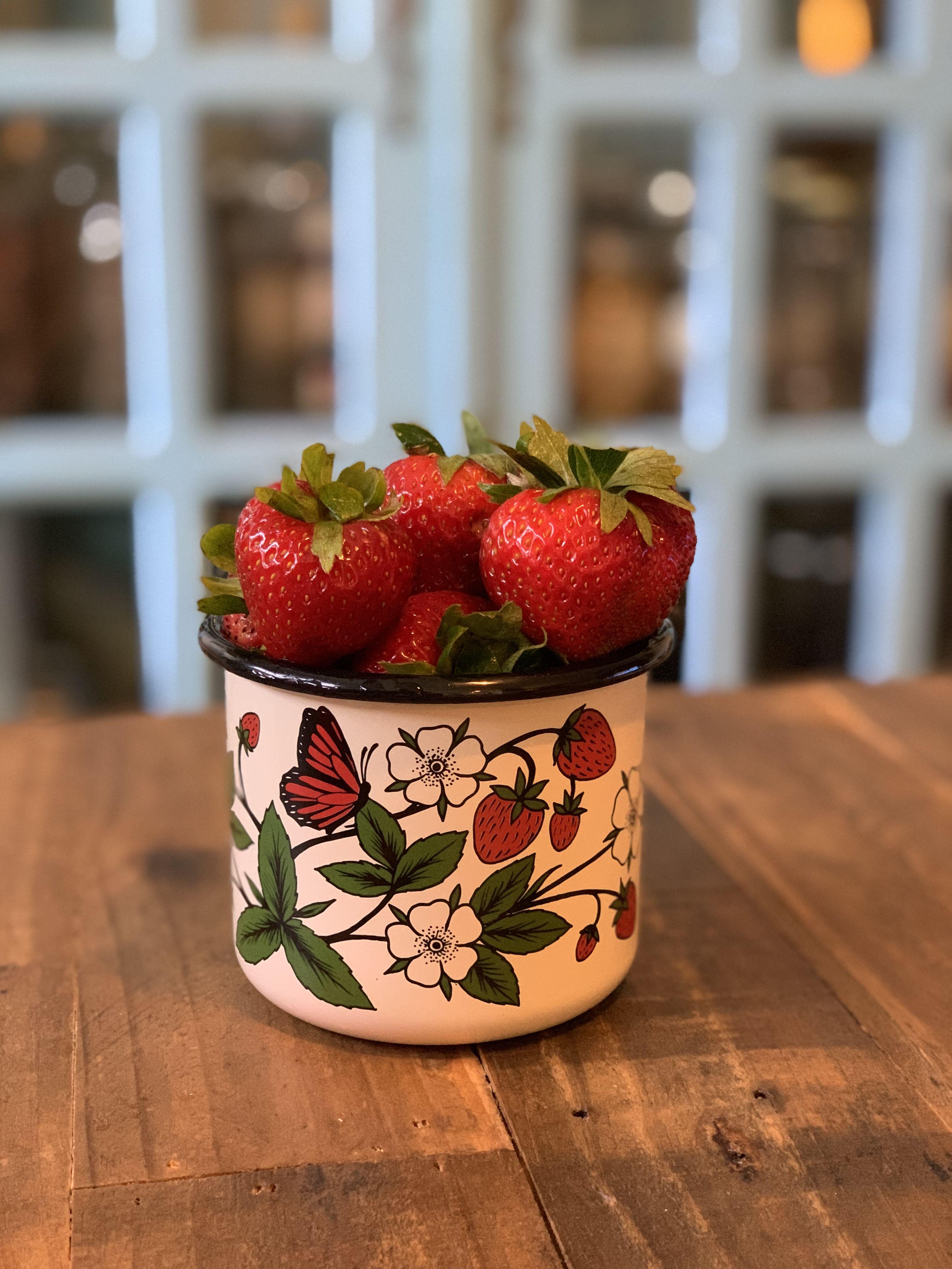 Strawberry Enamel Mug Mugs Monstera Strawberry