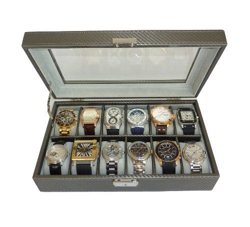 12 Piece Pewter Carbon Fiber Watch Display Case Men S Or Ladies Watch Box Jewelry Glass Top Products Online Montre
