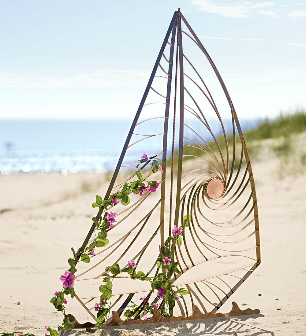 Let Your Climbing Plants Sail Away On This Handcrafted Metal Sailboat Garden  Trellis. Over 4