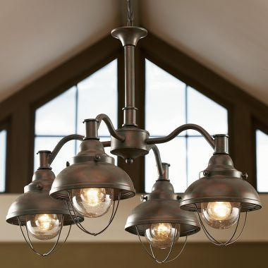 Grand River Lodge Fisherman S Four Light Chandelier At