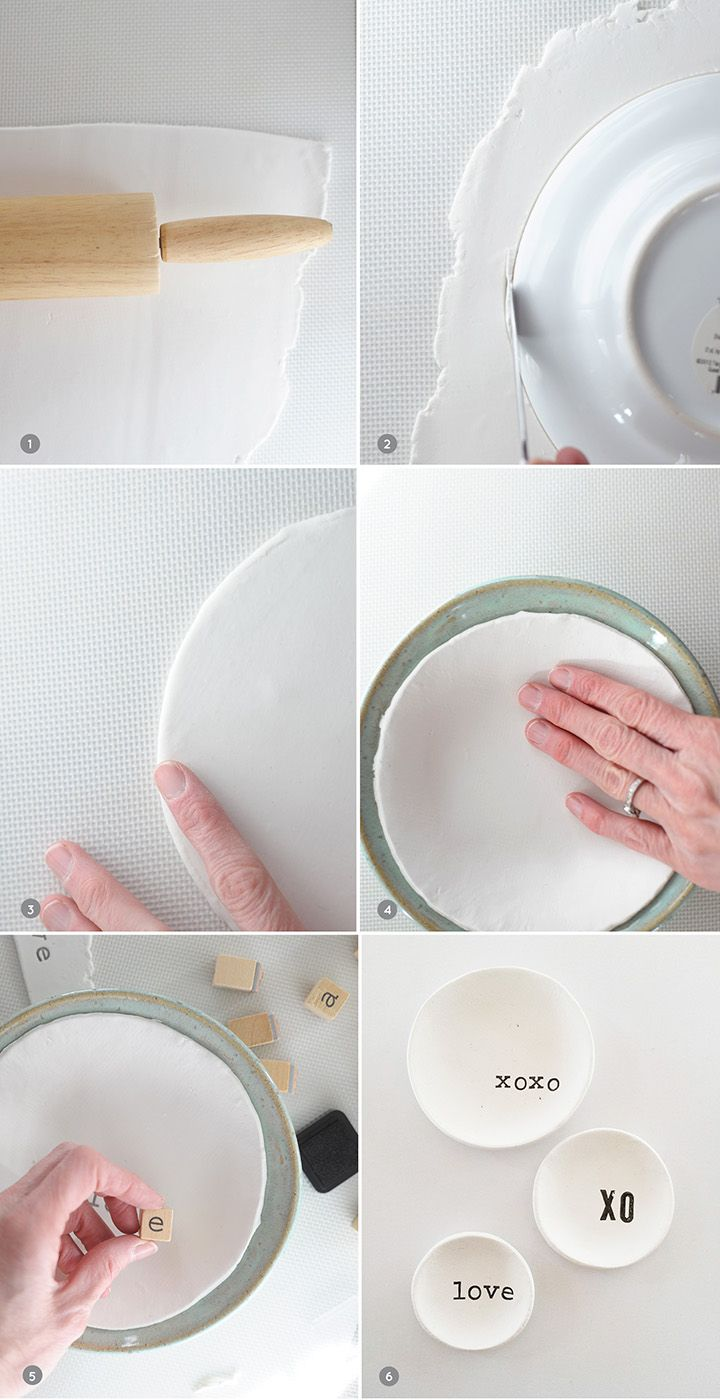 DIY Stamped Air Dry Clay Bowls Diy air dry clay, Clay