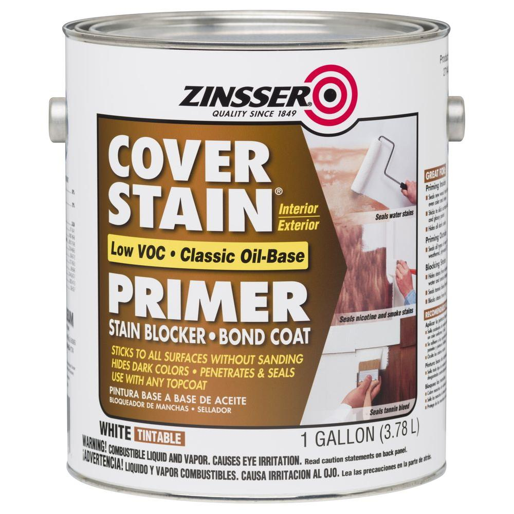 Zinsser Cover Stain 1 Gal White Low Voc Classic Oil Based Interior Exterior Primer And Sealer 2 Pack 271448 In 2020 Stained Trim Interior Exterior House Painting Tips