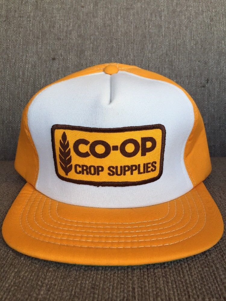 Vtg Co Op Crop Supplies Snap Back Hat 1980 S Farming Agricultural Farm Supply Ebay Vintage Trucker Hats Hat Patches Custom Trucker Hats
