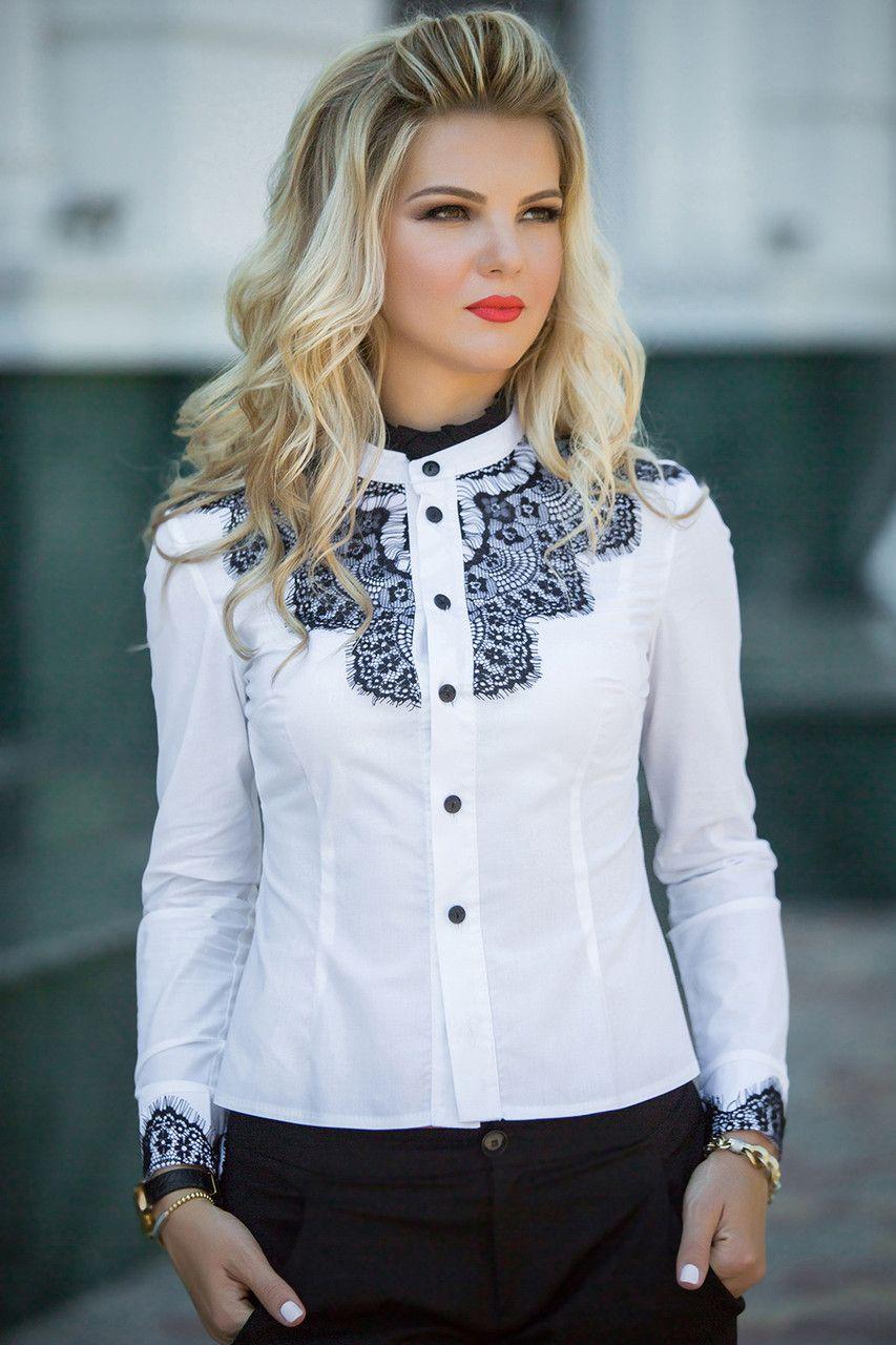 177d9061dd695b6 Купить Белая Рубашка с черным кружевом. блузки и туники женские от