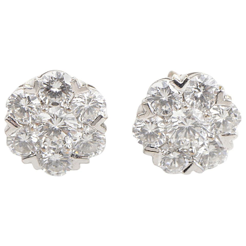 Van Cleef & Arpels Fleurette Diamond White Gold Earrings