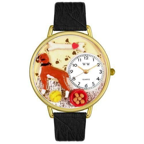Boxer Watch in Gold (Large) Black leather watch, Leather