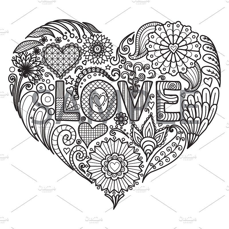 10 Love Coloring Book Design Heart Coloring Pages Love Coloring