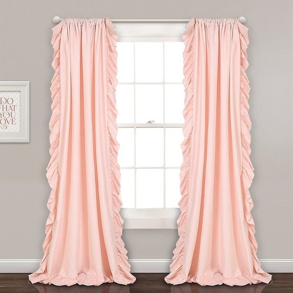Reams Blush Pink Ruffle Curtain Panel Set, 84 In. ($60) ❤ Liked On Polyvore  Featuring Home, Home Decor, Window Treatments, Curtains, Light Pink Curtain  ...