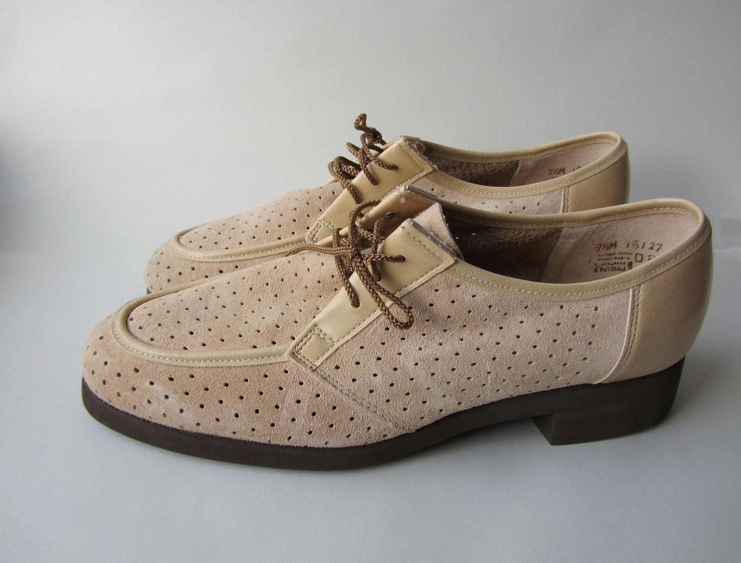 Mens Vintage Shoes Oxford Perforated Nude Hush Puppies