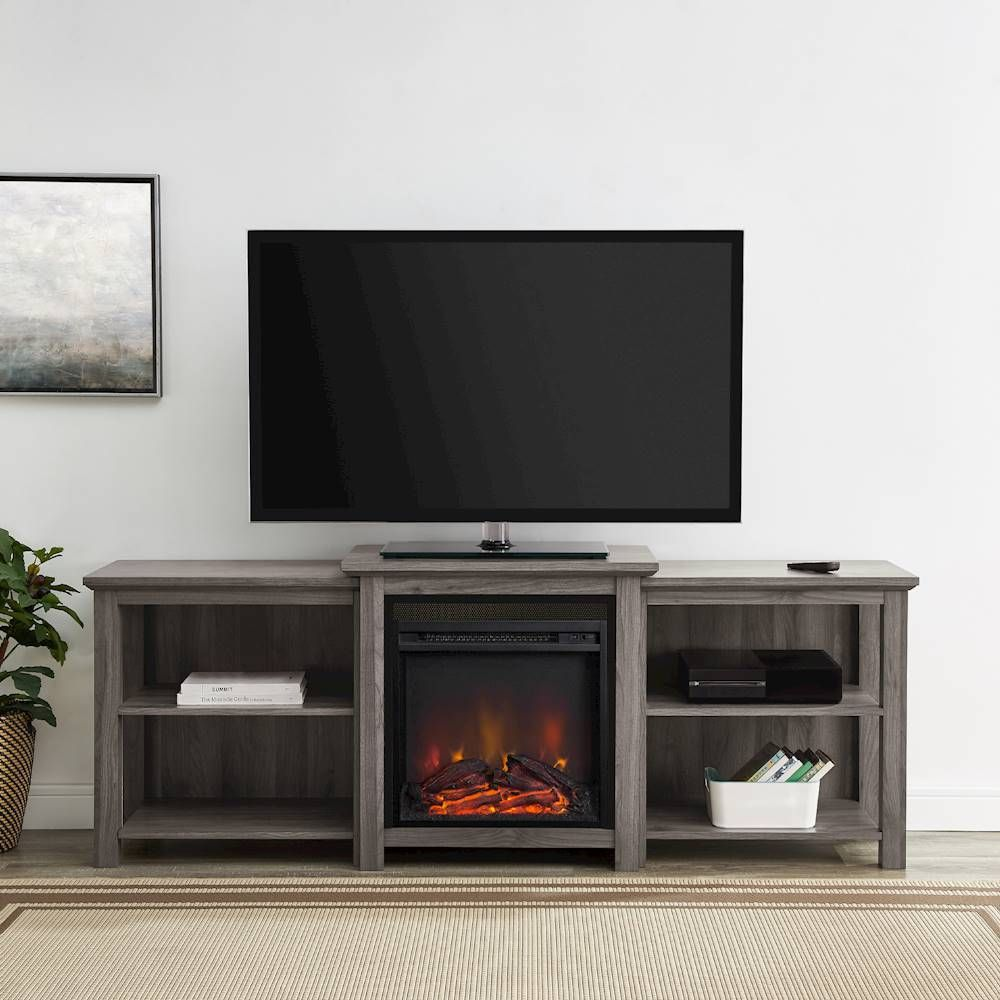 Walker Edison Open Shelf Fireplace Tv Console For Most Flat Panel Tvs Up To 78 Slate Gray In 2020 Flat Panel Tv Open Shelving Tvs