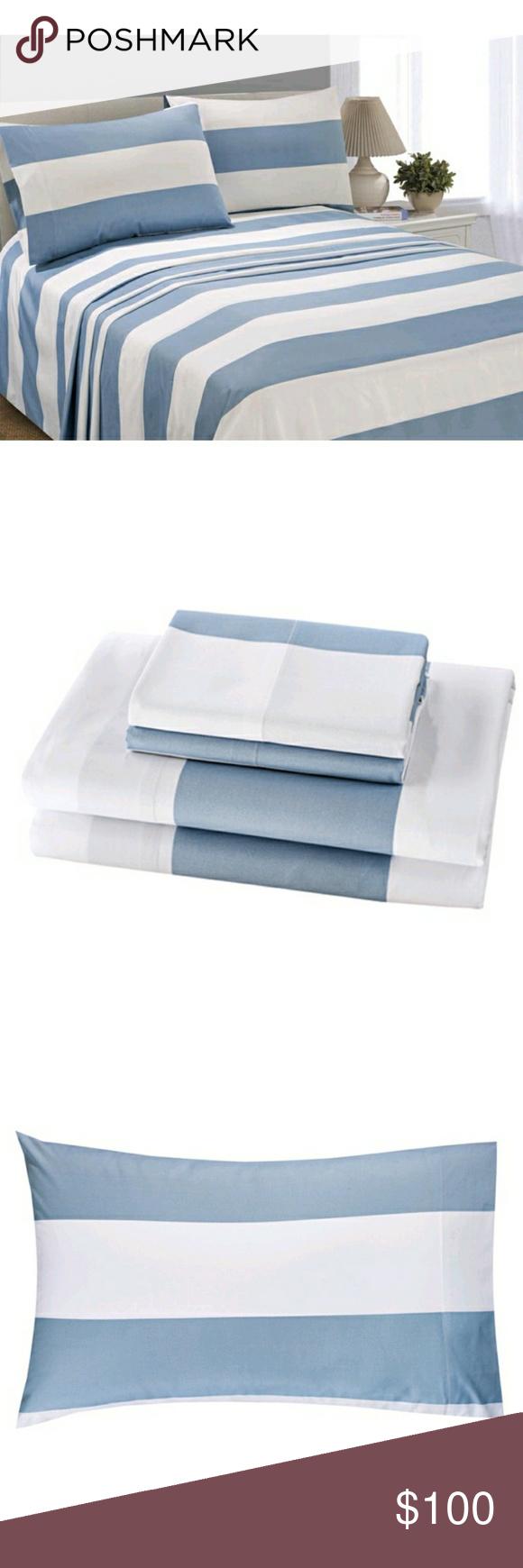 Blue Stripe Microfiber King Sheet Set King sheet sets