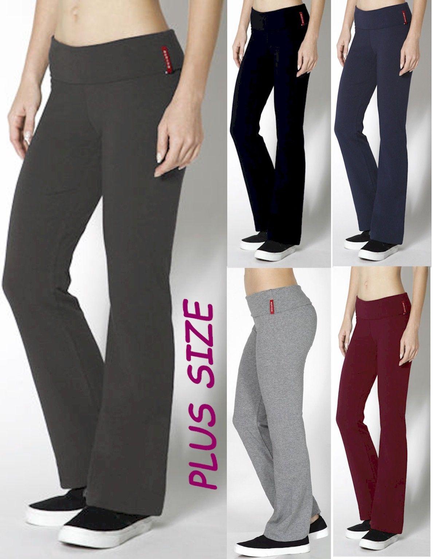 08177f637a51b YOGA Pants Stretch BLACK/NAVY/GRAY Fold Over - Flare Plus Size XL/1X ...