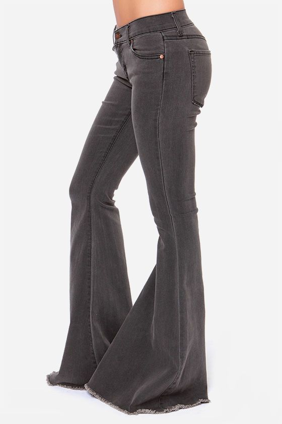 Battle Mountain Grey Flare Jeans Flare Jeans Super