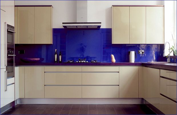 Kitchen:Awesome Blue Glass Backsplash In Small Kitchen With Sweet Kitchen  Cabinets Also Faucet Sink Stove Teapot Exhaust With Laminate Floor Its Bl…  ... - Kitchen:Awesome Blue Glass Backsplash In Small Kitchen With Sweet