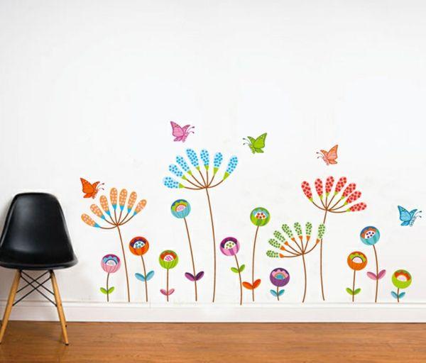 kinderzimer wände sticker farbige blumen Wandfarbe Kinderzimmer