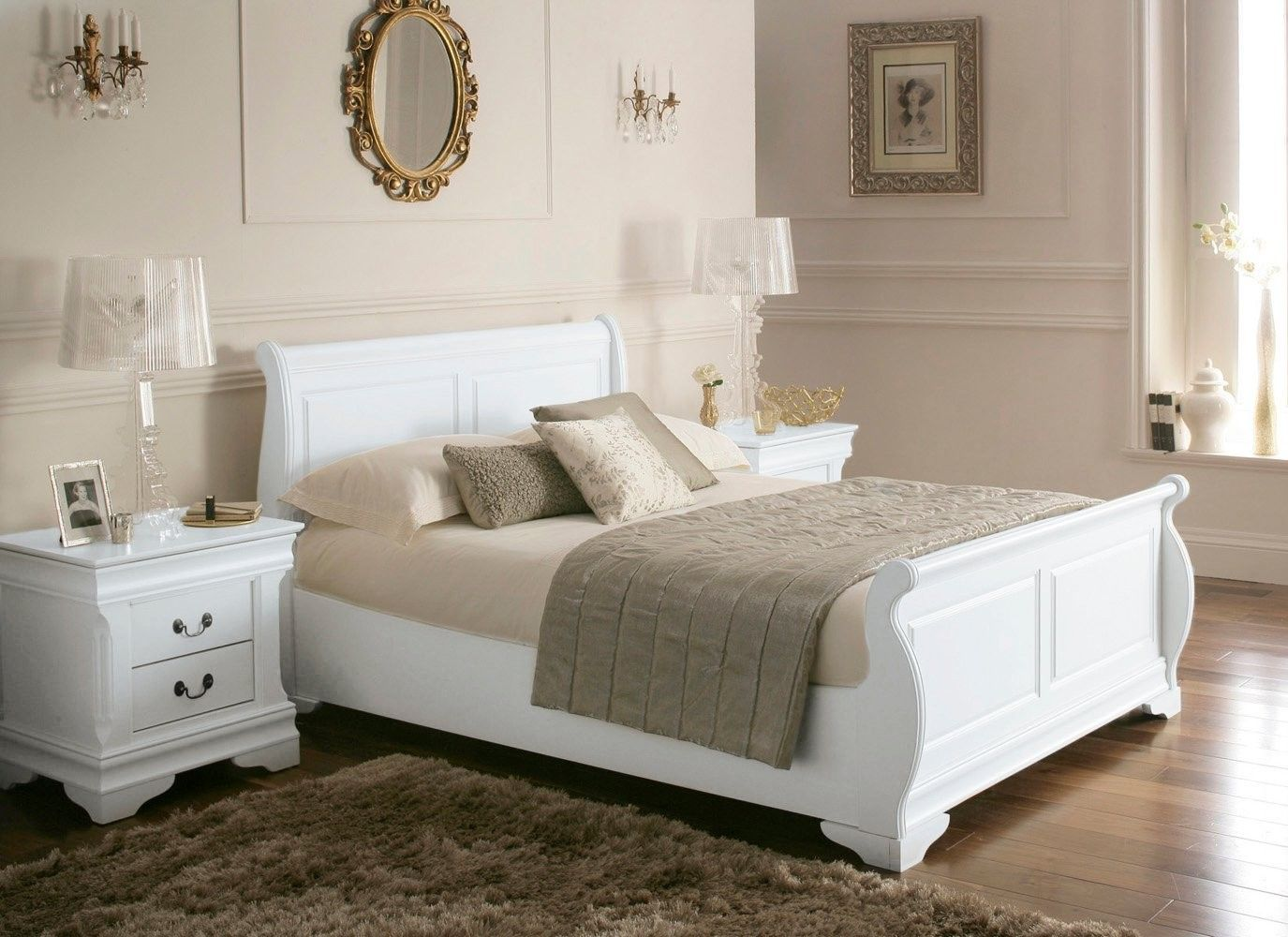 White wooden bed frame - White Wood Sleigh Beds Louie Wooden Sleigh Bed White King Size Wooden Beds