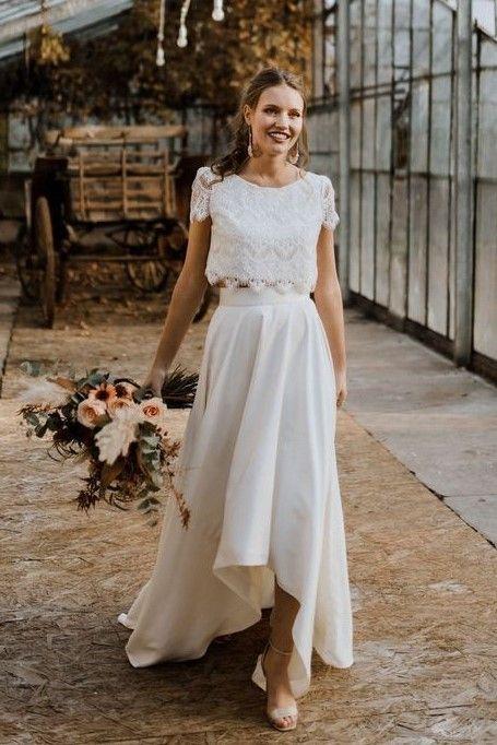 Vestido de novia hi-lo de manga corta de encaje Se separa de encaje  – Boda