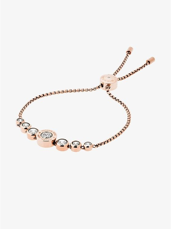 Cubic Zirconia Rose Gold-Tone Slider Bracelet | :: Jewelry